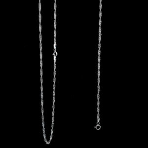 Sterling Silver Singapore Chain and Bracelet Set