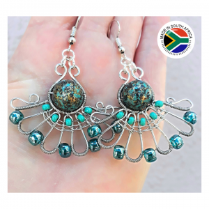 Earrings – Wire with Turquoise Glass Beads